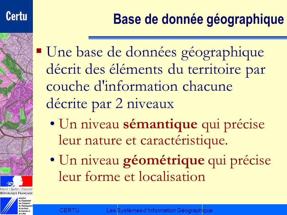 CERTULes Systèmes dInformation Géographique Base de donnée géographique Une base de données géographique décrit des éléments du territoire par couche