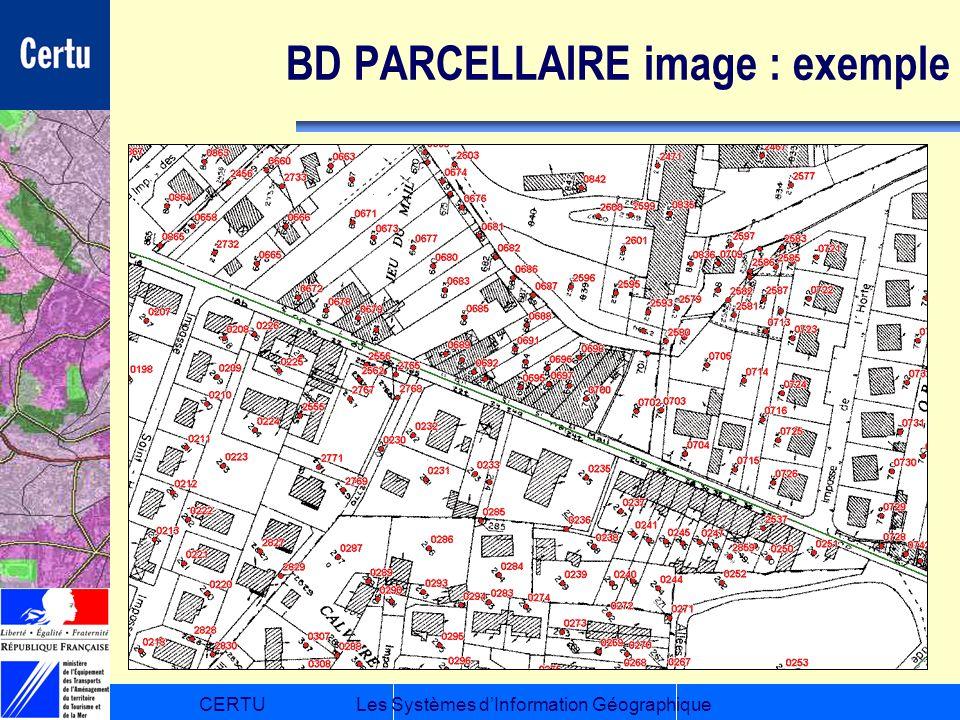 CERTULes Systèmes dInformation Géographique BD PARCELLAIRE image : exemple