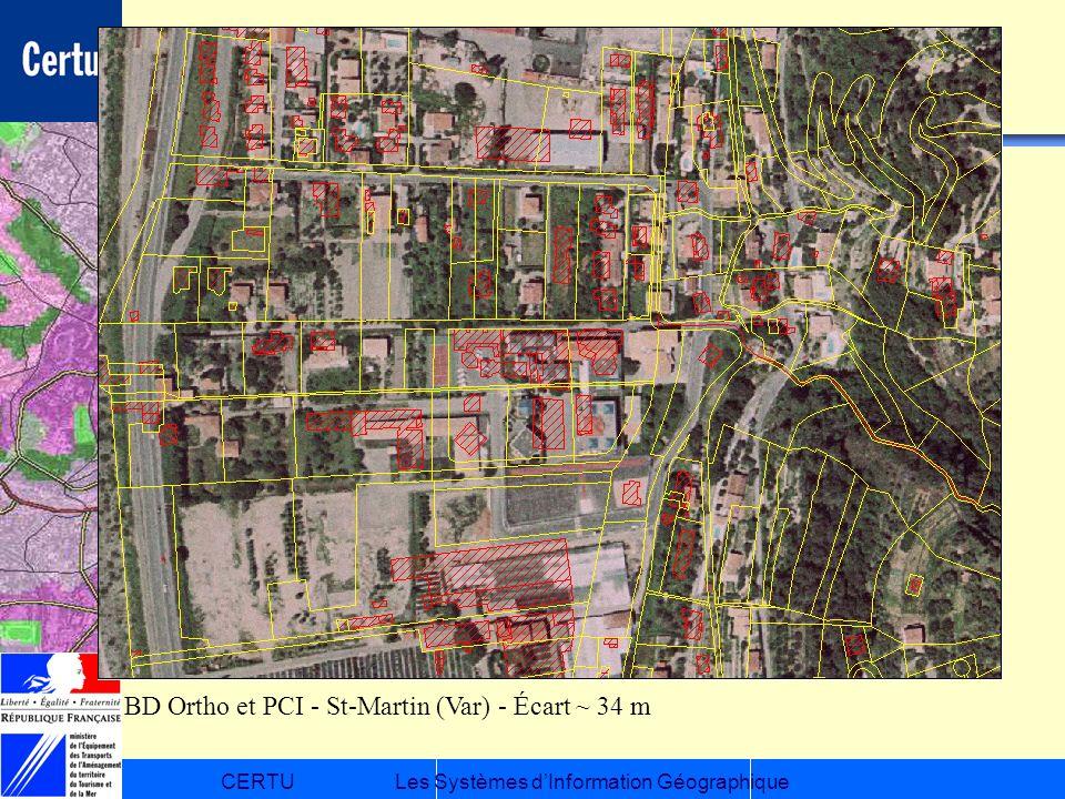 CERTULes Systèmes dInformation Géographique BD Ortho et PCI - St-Martin (Var) - Écart ~ 34 m