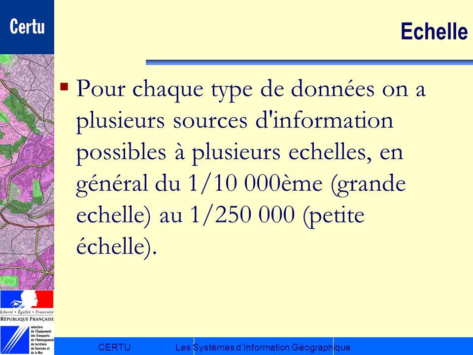 CERTULes Systèmes dInformation Géographique Echelle Pour chaque type de données on a plusieurs sources d'information possibles à plusieurs echelles, e