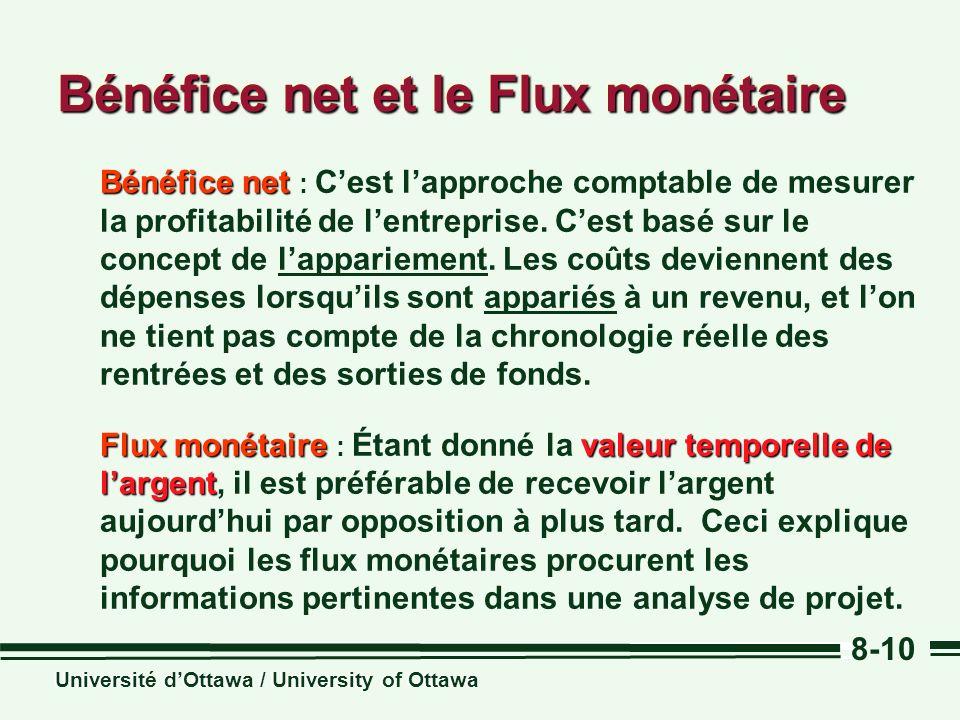 Université dOttawa / University of Ottawa 8-10 Bénéfice net Bénéfice net : Cest lapproche comptable de mesurer la profitabilité de lentreprise. Cest b
