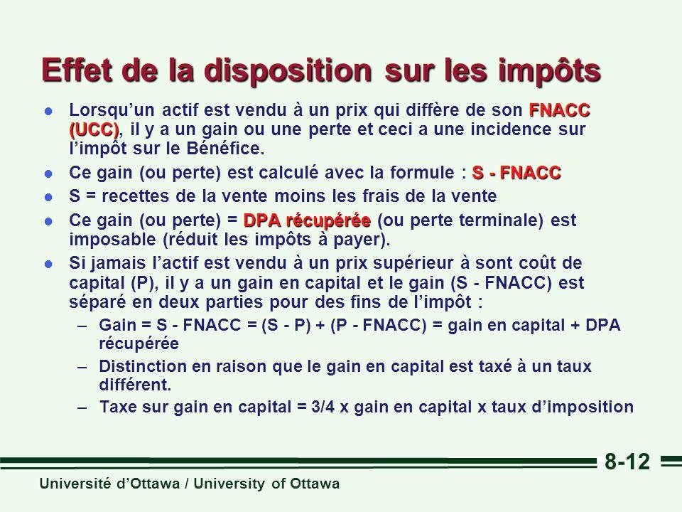 Université dOttawa / University of Ottawa 8-12 Effet de la disposition sur les impôts FNACC (UCC) l Lorsquun actif est vendu à un prix qui diffère de son FNACC (UCC), il y a un gain ou une perte et ceci a une incidence sur limpôt sur le Bénéfice.