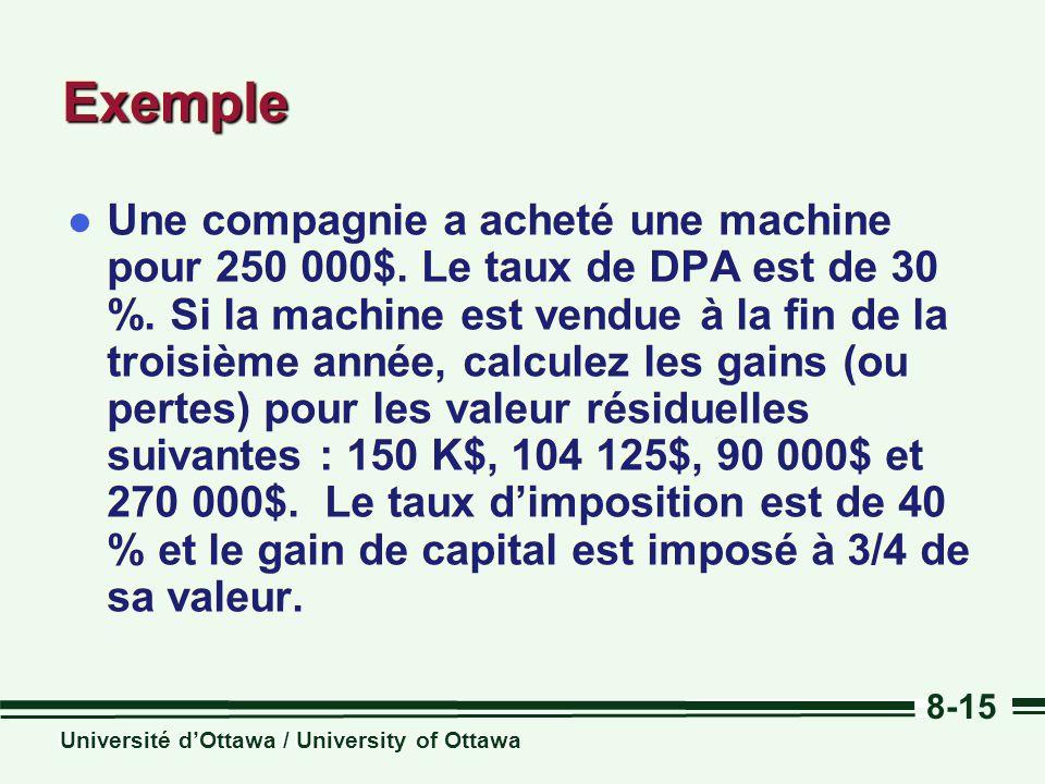 Université dOttawa / University of Ottawa 8-15 ExempleExemple l Une compagnie a acheté une machine pour 250 000$. Le taux de DPA est de 30 %. Si la ma