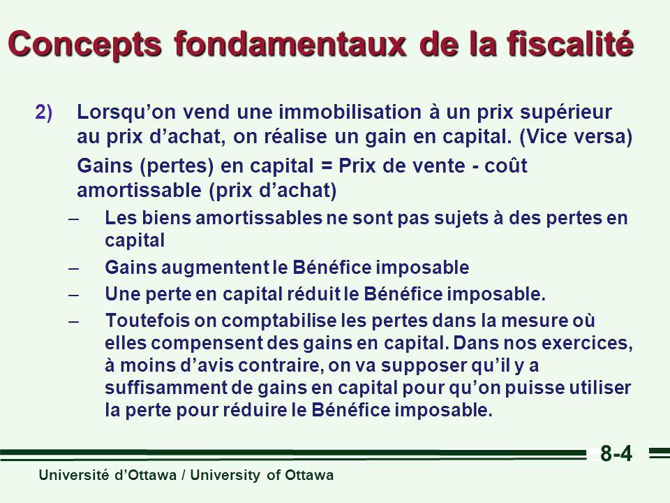 Université dOttawa / University of Ottawa 8-4 Concepts fondamentaux de la fiscalité 2)Lorsquon vend une immobilisation à un prix supérieur au prix dachat, on réalise un gain en capital.