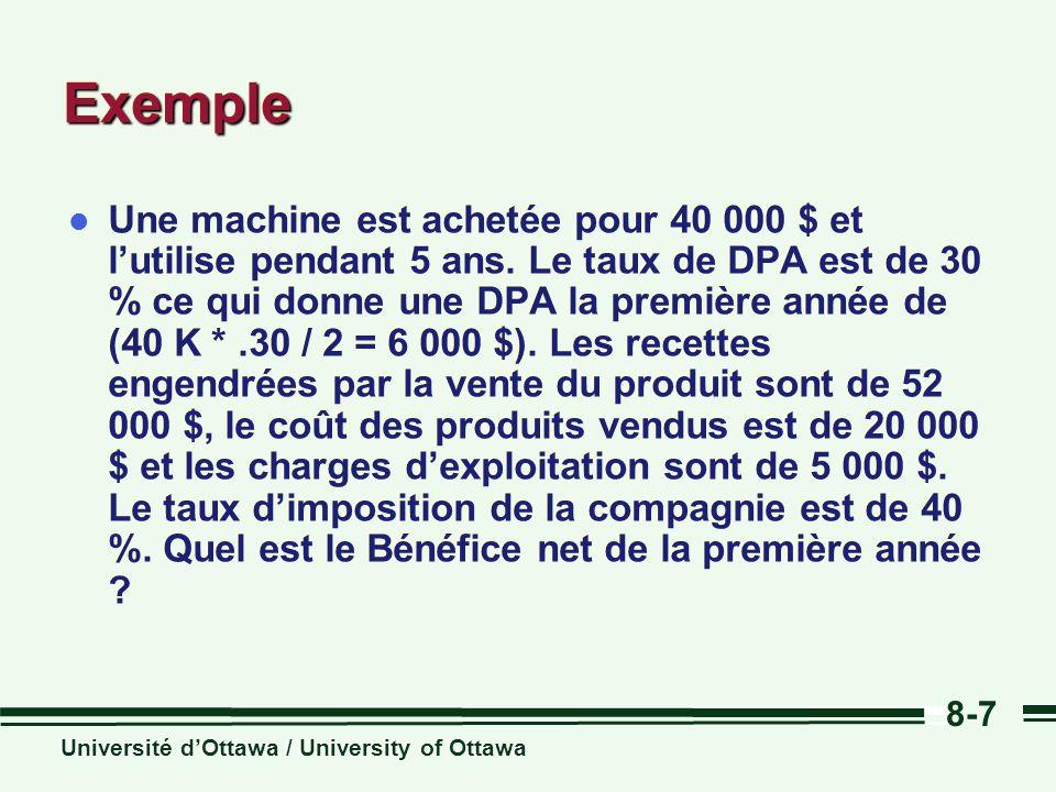 Université dOttawa / University of Ottawa 8-7 ExempleExemple l Une machine est achetée pour 40 000 $ et lutilise pendant 5 ans. Le taux de DPA est de