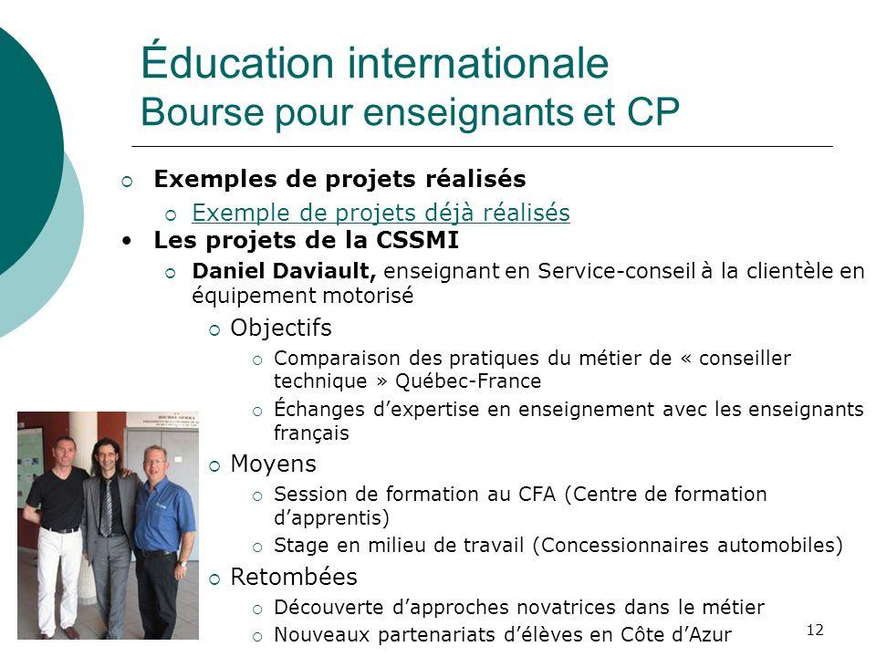 12 Exemples de projets réalisés Exemple de projets déjà réalisés Les projets de la CSSMI Daniel Daviault, enseignant en Service-conseil à la clientèle