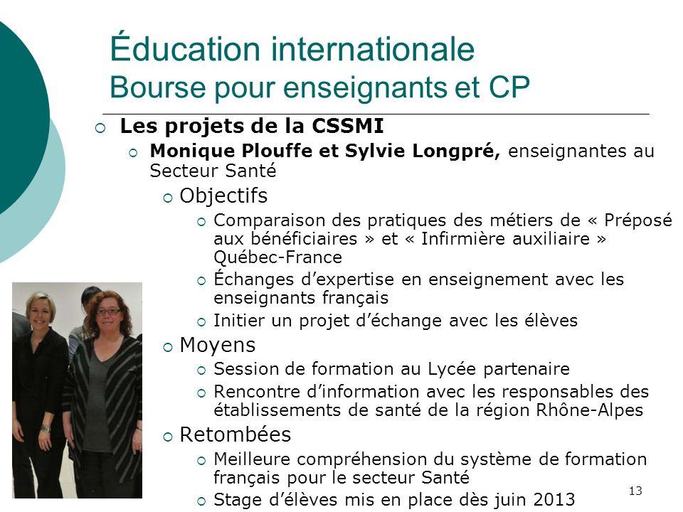 13 Les projets de la CSSMI Monique Plouffe et Sylvie Longpré, enseignantes au Secteur Santé Objectifs Comparaison des pratiques des métiers de « Prépo