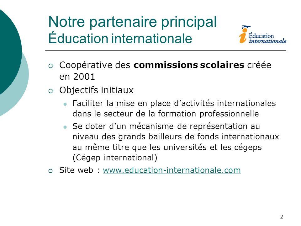 2 Notre partenaire principal Éducation internationale Coopérative des commissions scolaires créée en 2001 Objectifs initiaux Faciliter la mise en plac