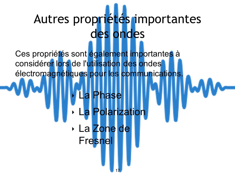 17 Autres propriétés importantes des ondes La Phase La Polarization La Zone de Fresnel Ces propriétés sont également importantes à considérer lors de l utilisation des ondes électromagnétiques pour les communications.