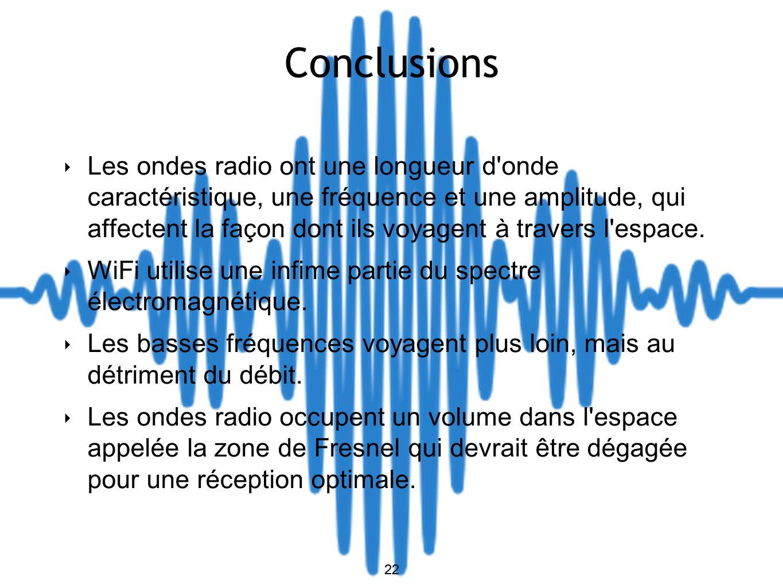 22 Conclusions Les ondes radio ont une longueur d onde caractéristique, une fréquence et une amplitude, qui affectent la façon dont ils voyagent à travers l espace.
