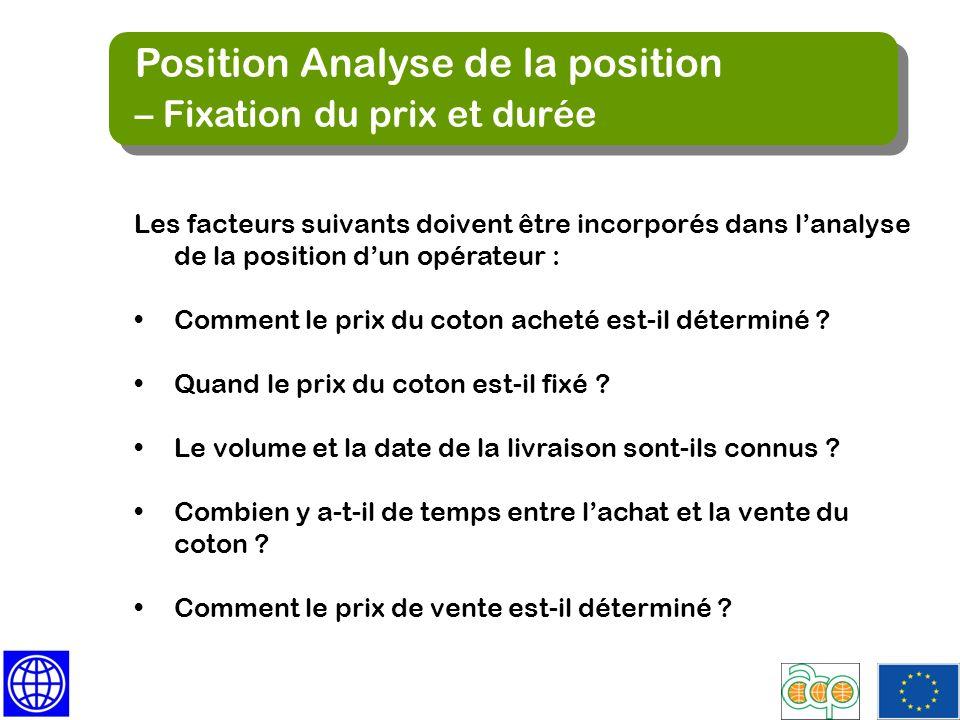 Position Analyse de la position – Fixation du prix et durée Position Analyse de la position – Fixation du prix et durée Les facteurs suivants doivent
