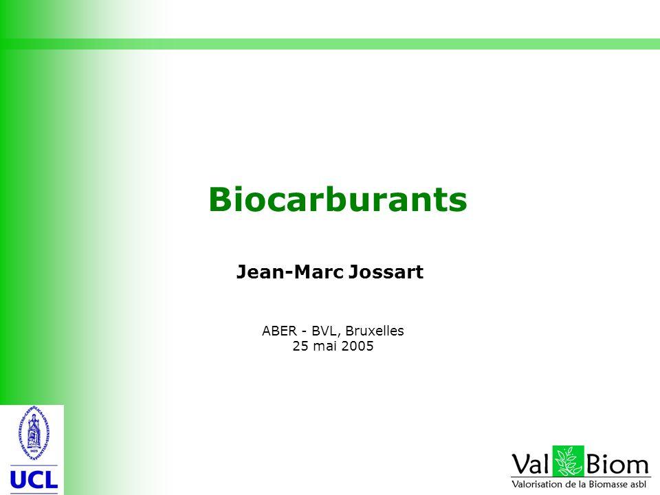 1 Biocarburants Jean-Marc Jossart ABER - BVL, Bruxelles 25 mai 2005