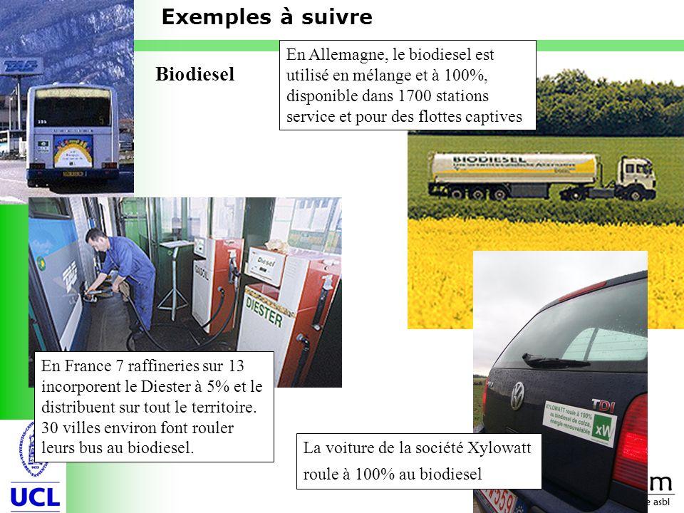 12 Biodiesel En Allemagne, le biodiesel est utilisé en mélange et à 100%, disponible dans 1700 stations service et pour des flottes captives En France