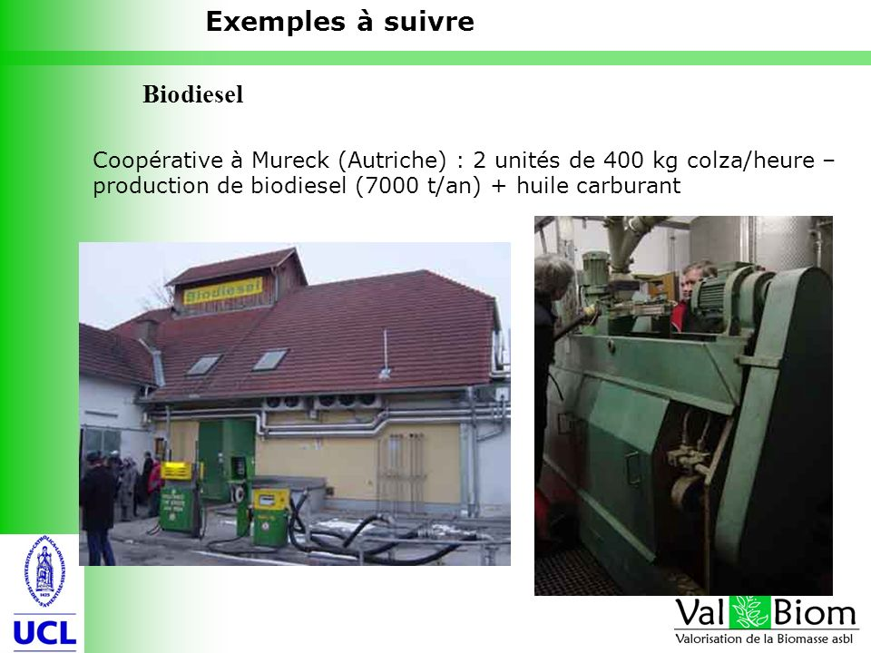 13 Coopérative à Mureck (Autriche) : 2 unités de 400 kg colza/heure – production de biodiesel (7000 t/an) + huile carburant Exemples à suivre Biodiese