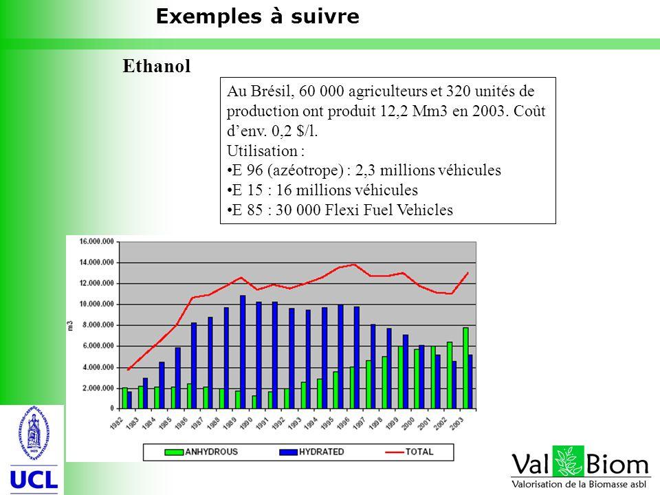 16 Ethanol Exemples à suivre Au Brésil, 60 000 agriculteurs et 320 unités de production ont produit 12,2 Mm3 en 2003. Coût denv. 0,2 $/l. Utilisation