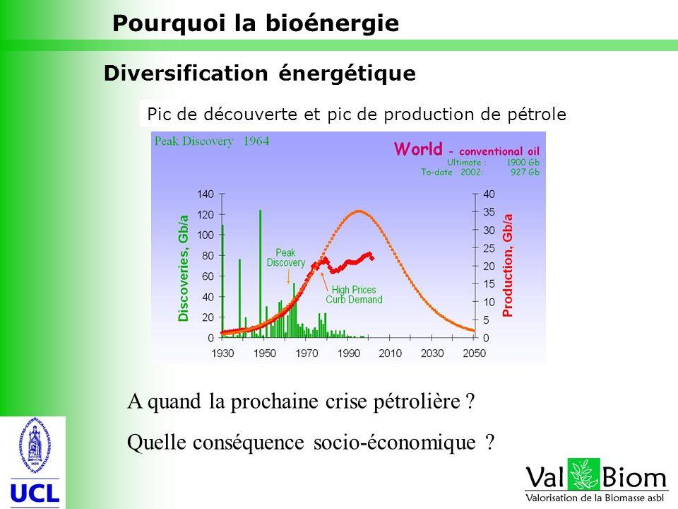 5 Pourquoi la bioénergie Diversification énergétique Pic de découverte et pic de production de pétrole A quand la prochaine crise pétrolière ? Quelle
