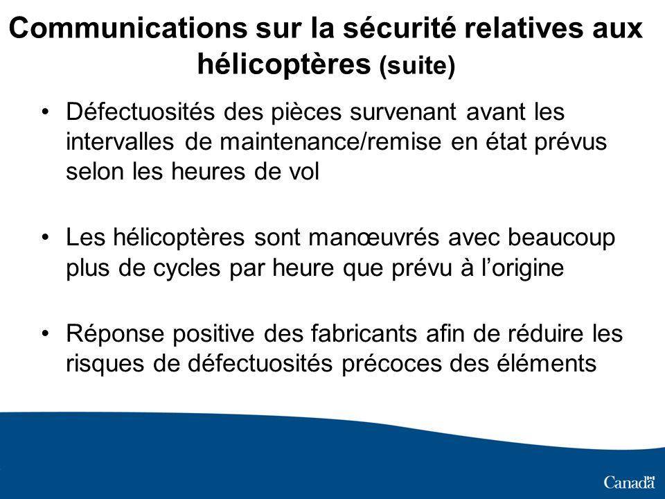 Communications sur la sécurité relatives aux hélicoptères (suite) Défectuosités des pièces survenant avant les intervalles de maintenance/remise en ét