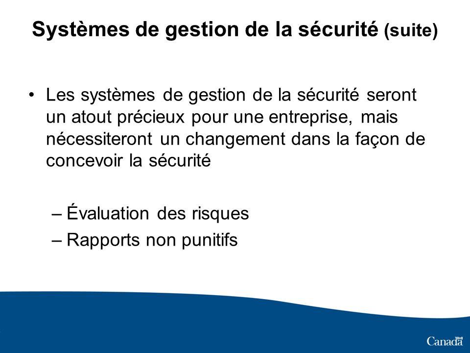 Systèmes de gestion de la sécurité (suite) Les systèmes de gestion de la sécurité seront un atout précieux pour une entreprise, mais nécessiteront un