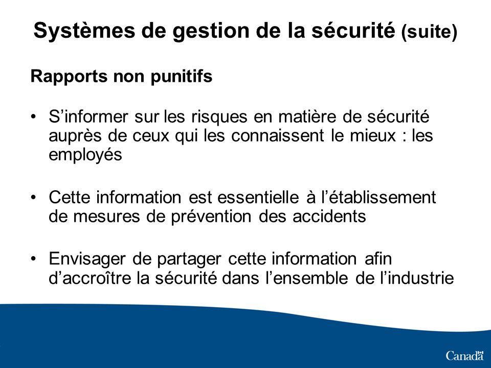 Systèmes de gestion de la sécurité (suite) Rapports non punitifs Sinformer sur les risques en matière de sécurité auprès de ceux qui les connaissent l