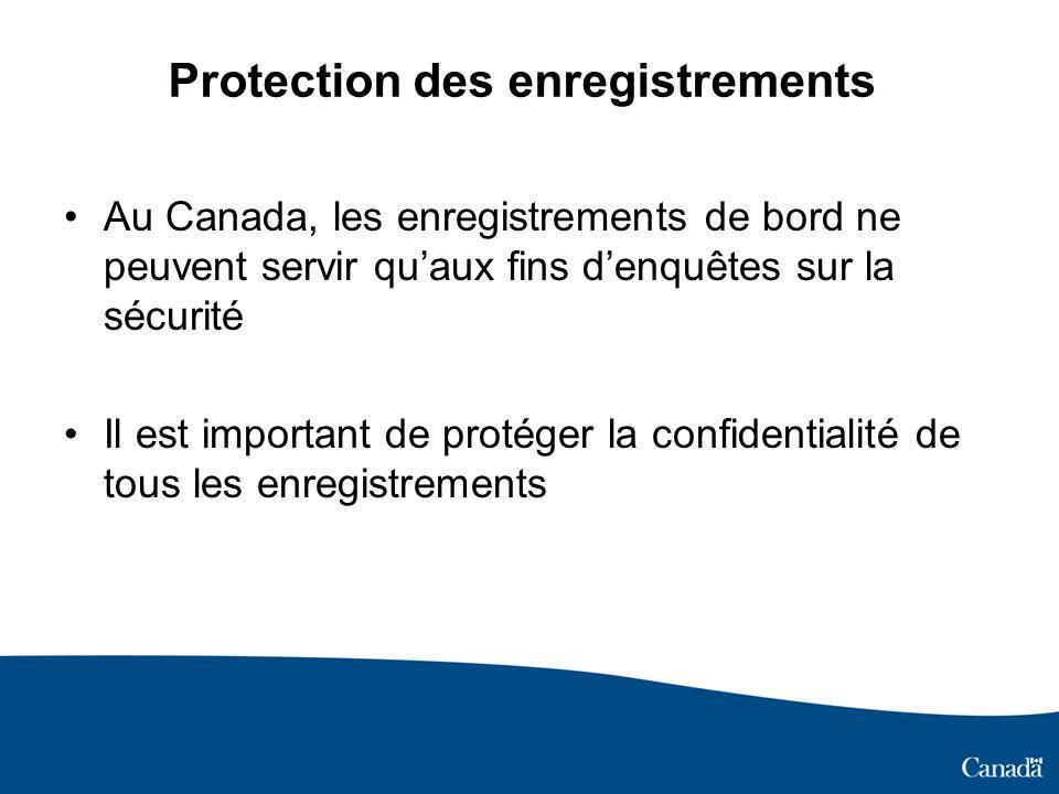 Au Canada, les enregistrements de bord ne peuvent servir quaux fins denquêtes sur la sécurité Il est important de protéger la confidentialité de tous