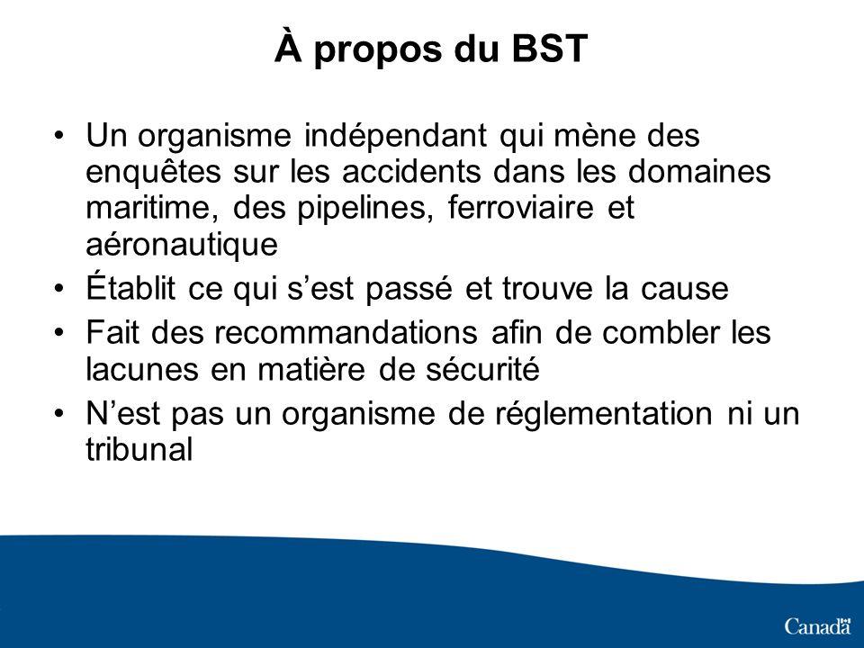 À propos du BST Un organisme indépendant qui mène des enquêtes sur les accidents dans les domaines maritime, des pipelines, ferroviaire et aéronautiqu