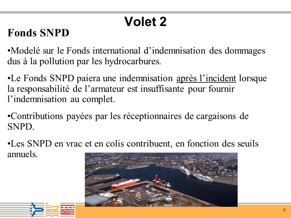6 Volet 2 Fonds SNPD Modelé sur le Fonds international dindemnisation des dommages dus à la pollution par les hydrocarbures.