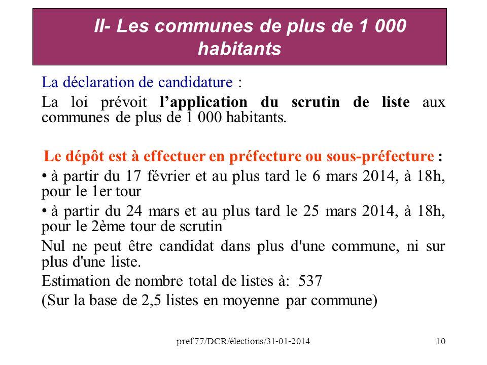 pref 77/DCR/élections/31-01-201410 La déclaration de candidature : La loi prévoit lapplication du scrutin de liste aux communes de plus de 1 000 habitants.