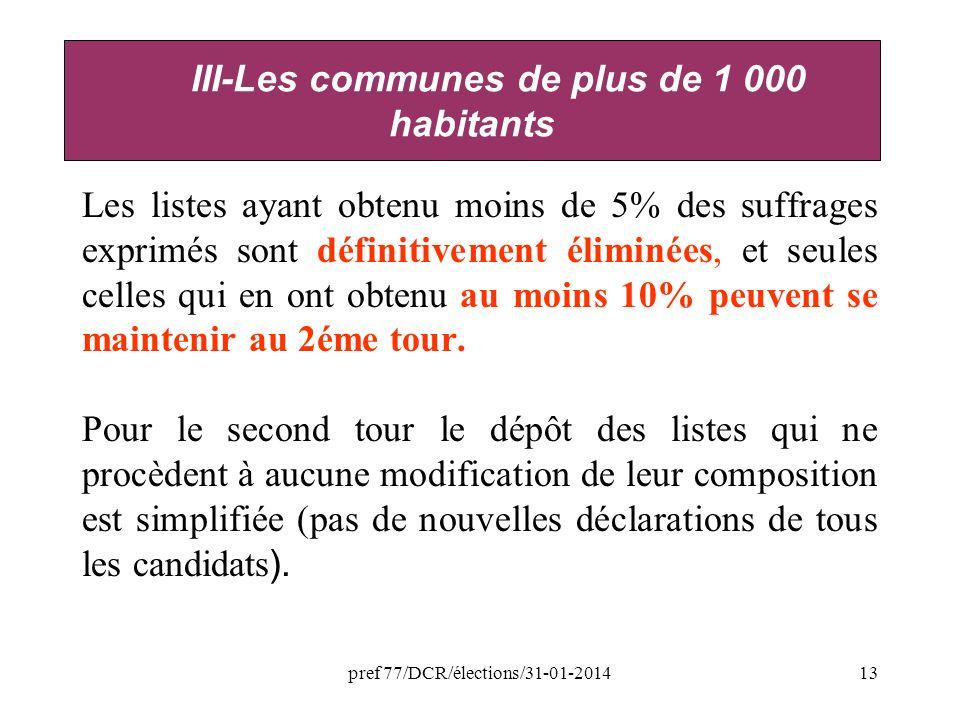 pref 77/DCR/élections/31-01-201413 Les listes ayant obtenu moins de 5% des suffrages exprimés sont définitivement éliminées, et seules celles qui en ont obtenu au moins 10% peuvent se maintenir au 2éme tour.