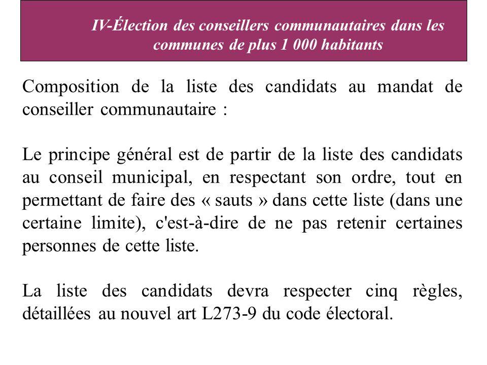 Composition de la liste des candidats au mandat de conseiller communautaire : Le principe général est de partir de la liste des candidats au conseil municipal, en respectant son ordre, tout en permettant de faire des « sauts » dans cette liste (dans une certaine limite), c est-à-dire de ne pas retenir certaines personnes de cette liste.