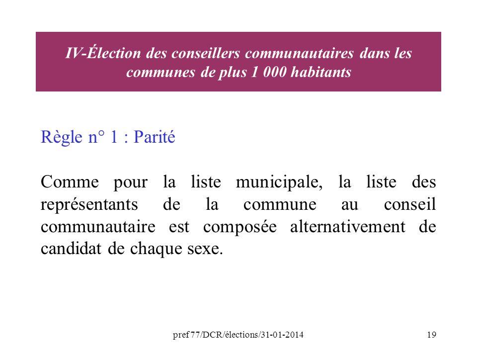 pref 77/DCR/élections/31-01-201419 Règle n° 1 : Parité Comme pour la liste municipale, la liste des représentants de la commune au conseil communautaire est composée alternativement de candidat de chaque sexe.
