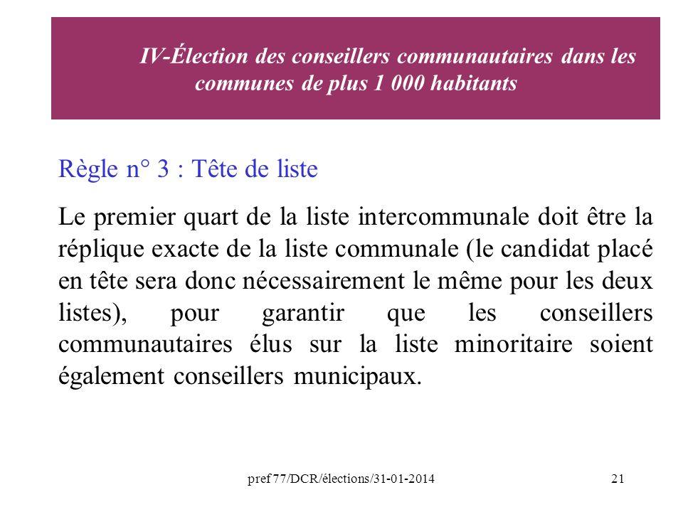 pref 77/DCR/élections/31-01-201421 Règle n° 3 : Tête de liste Le premier quart de la liste intercommunale doit être la réplique exacte de la liste communale (le candidat placé en tête sera donc nécessairement le même pour les deux listes), pour garantir que les conseillers communautaires élus sur la liste minoritaire soient également conseillers municipaux.