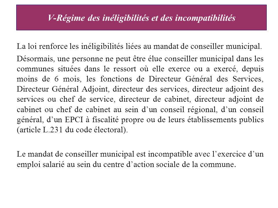 V-Régime des inéligibilités et des incompatibilités La loi renforce les inéligibilités liées au mandat de conseiller municipal.