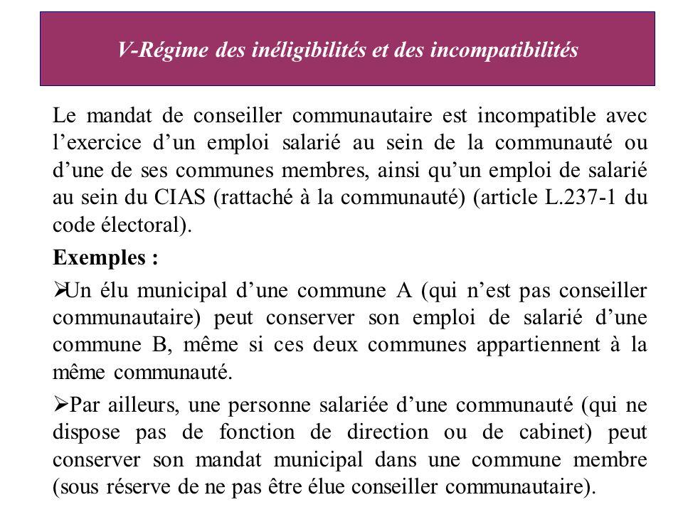 Le mandat de conseiller communautaire est incompatible avec lexercice dun emploi salarié au sein de la communauté ou dune de ses communes membres, ainsi quun emploi de salarié au sein du CIAS (rattaché à la communauté) (article L.237-1 du code électoral).