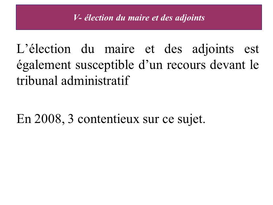 V- élection du maire et des adjoints Lélection du maire et des adjoints est également susceptible dun recours devant le tribunal administratif En 2008, 3 contentieux sur ce sujet.