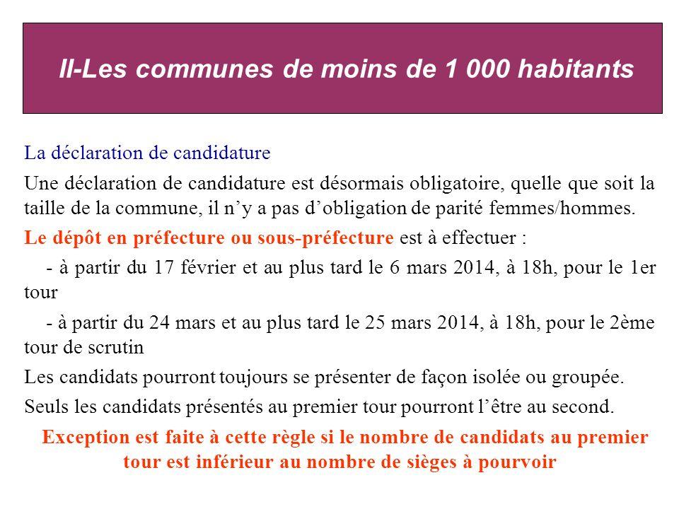La déclaration de candidature Une déclaration de candidature est désormais obligatoire, quelle que soit la taille de la commune, il ny a pas dobligation de parité femmes/hommes.