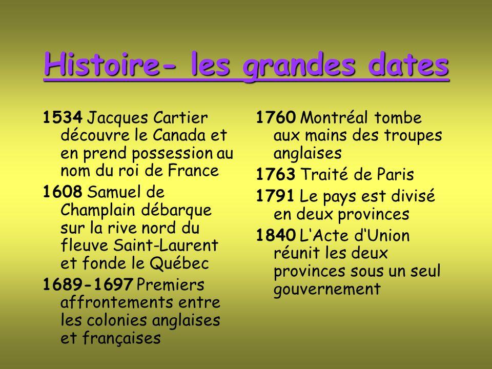 Histoire- les grandes dates 1534 Jacques Cartier découvre le Canada et en prend possession au nom du roi de France 1608 Samuel de Champlain débarque s