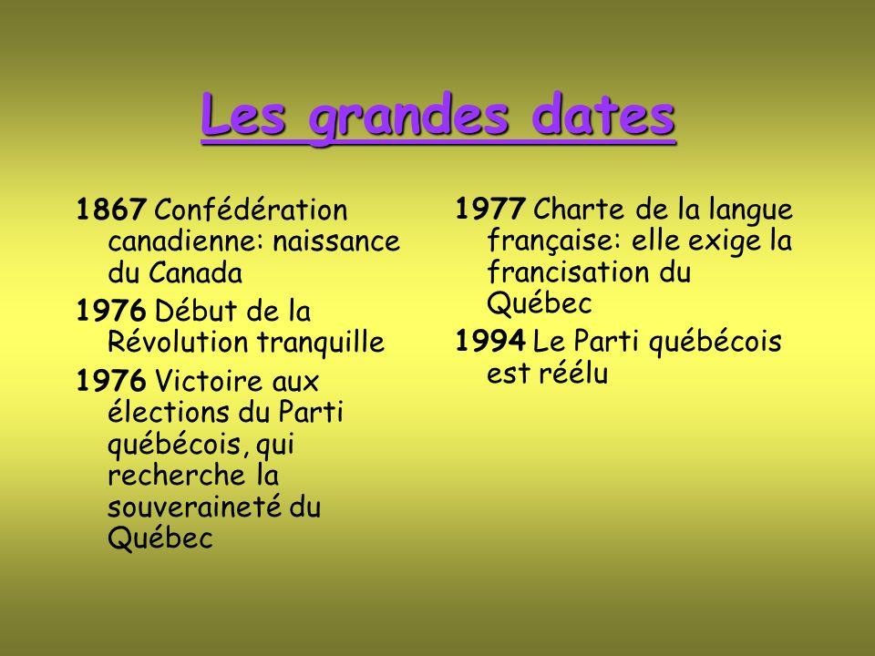 Les grandes dates 1867 Confédération canadienne: naissance du Canada 1976 Début de la Révolution tranquille 1976 Victoire aux élections du Parti québé