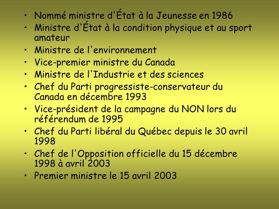 Nommé ministre d'État à la Jeunesse en 1986 Ministre d'État à la condition physique et au sport amateur Ministre de l'environnement Vice-premier minis