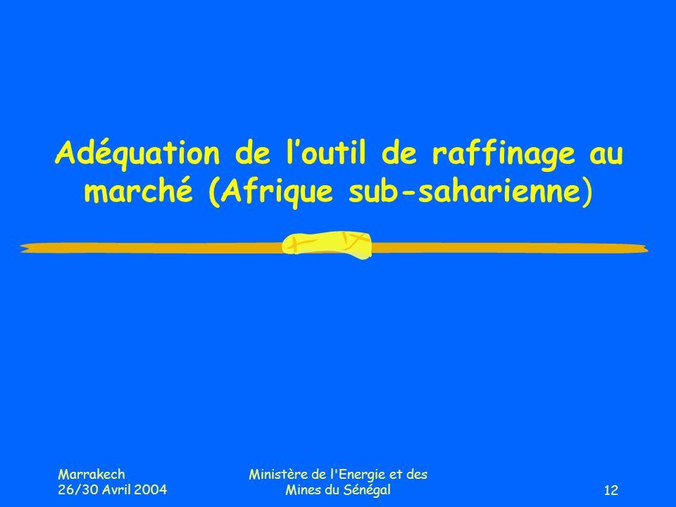 Marrakech 26/30 Avril 2004 Ministère de l Energie et des Mines du Sénégal12 Adéquation de loutil de raffinage au marché (Afrique sub-saharienne)
