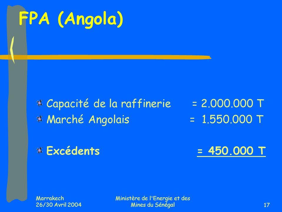 Marrakech 26/30 Avril 2004 Ministère de l Energie et des Mines du Sénégal17 FPA (Angola) Capacité de la raffinerie = 2.000.000 T Marché Angolais = 1.550.000 T Excédents = 450.000 T
