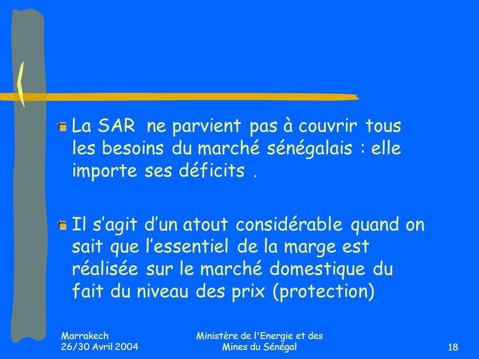 Marrakech 26/30 Avril 2004 Ministère de l Energie et des Mines du Sénégal18 La SAR ne parvient pas à couvrir tous les besoins du marché sénégalais : elle importe ses déficits.