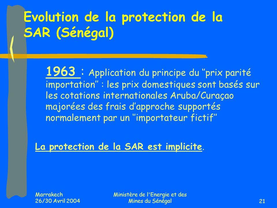 Marrakech 26/30 Avril 2004 Ministère de l'Energie et des Mines du Sénégal21 Evolution de la protection de la SAR (Sénégal) 1963 : Application du princ