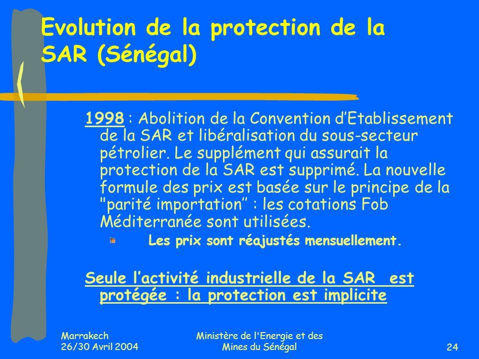 Marrakech 26/30 Avril 2004 Ministère de l Energie et des Mines du Sénégal24 1998 : Abolition de la Convention dEtablissement de la SAR et libéralisation du sous-secteur pétrolier.