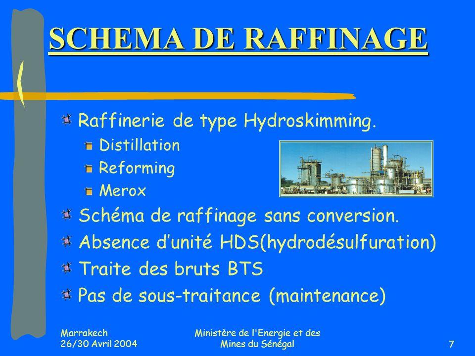 Marrakech 26/30 Avril 2004 Ministère de l'Energie et des Mines du Sénégal7 SCHEMA DE RAFFINAGE Raffinerie de type Hydroskimming. Distillation Reformin