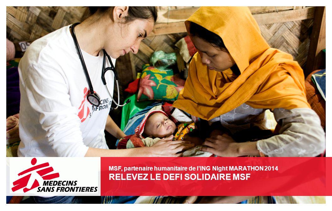 Activités : soins de santé primaire, malnutrition, distribution de matériel de secours, eau et assainissement, promotion de la santé, santé mentale, santé maternelle, vaccinations, violences sexuelles EN QUELQUES CHIFFRES 8.316.000 consultations ambulatoires 78.500 interventions chirurgicales majeures 1 642 800 cas de paludisme traité 185.400 accouchements 1.186.700 personnes vaccinées contre la rougeole et la méningite MEDECINS SANS FRONTIERES En 2012