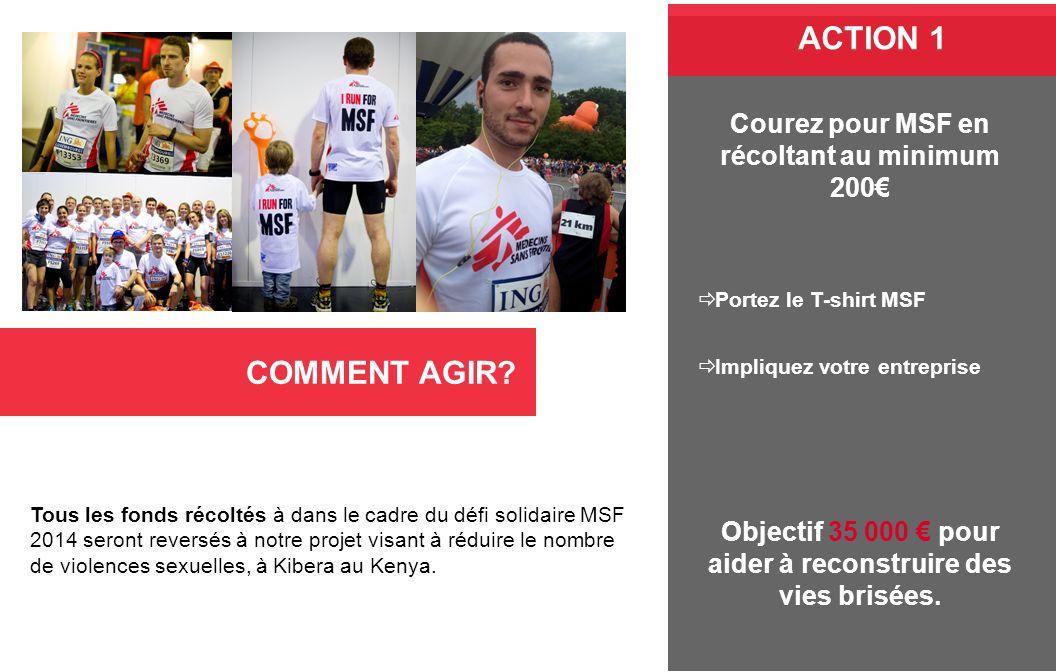 COMMENT AGIR? Tous les fonds récoltés à dans le cadre du défi solidaire MSF 2014 seront reversés à notre projet visant à réduire le nombre de violence