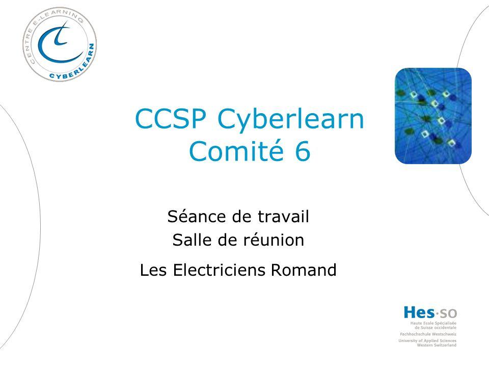CCSP Cyberlearn Comité 6 Séance de travail Salle de réunion Les Electriciens Romand
