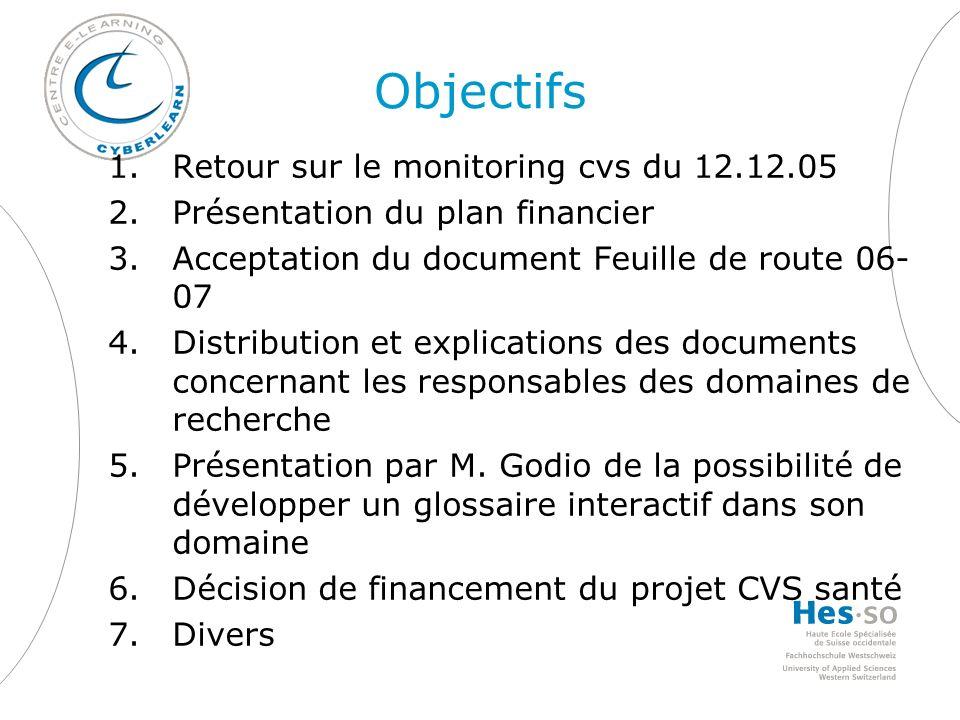 Objectifs 1.Retour sur le monitoring cvs du 12.12.05 2.Présentation du plan financier 3.Acceptation du document Feuille de route 06- 07 4.Distribution et explications des documents concernant les responsables des domaines de recherche 5.Présentation par M.