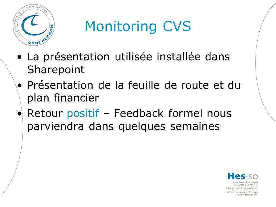 Monitoring CVS La présentation utilisée installée dans Sharepoint Présentation de la feuille de route et du plan financier Retour positif – Feedback formel nous parviendra dans quelques semaines