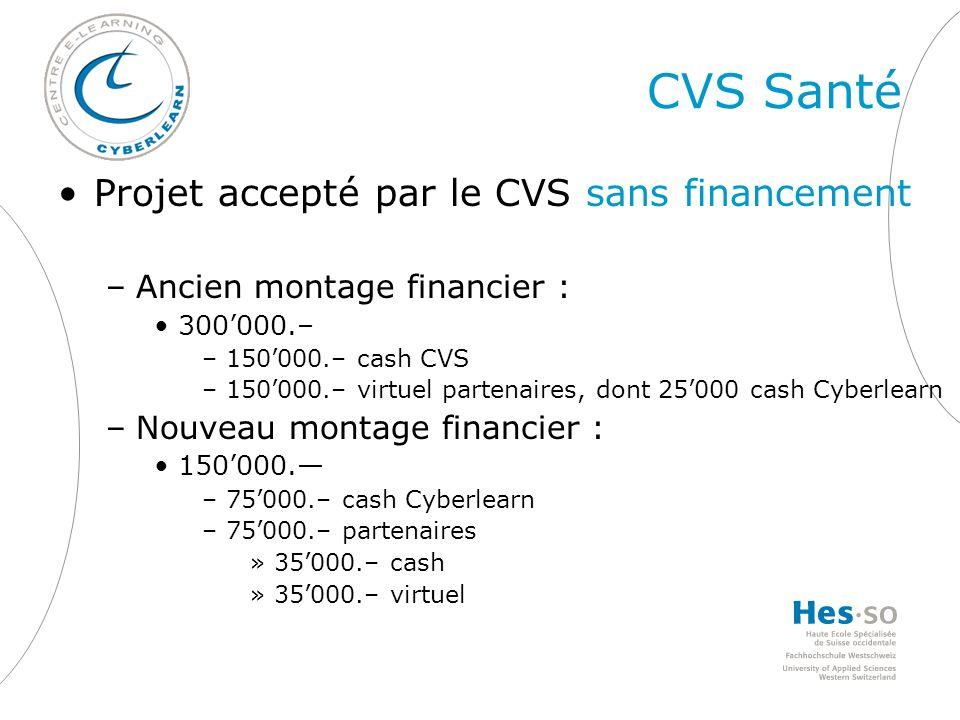 CVS Santé Projet accepté par le CVS sans financement –Ancien montage financier : 300000.– –150000.– cash CVS –150000.– virtuel partenaires, dont 25000 cash Cyberlearn –Nouveau montage financier : 150000.